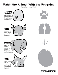 animal footprints match them all activities peta kids