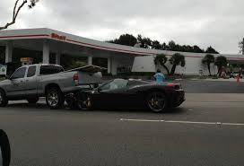 458 spider rear car crash 458 spider rear ends truck in california gtspirit