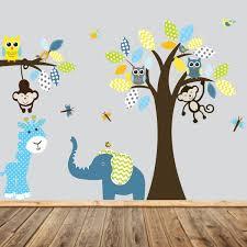 stickers arbre chambre b stickers chambre b muraux enfant arbre et les animaux hiboux singe l