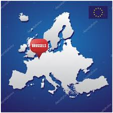 Brussels On World Map by Brussels On European Map And Eu Flag U2014 Stock Vector Grounder