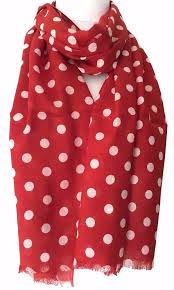 large red and white polka dot print scarf beautiful soft light