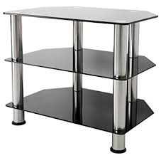 stand up l with shelves king universal black glass tv stand 60cm suitable up to amazon co