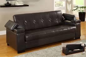 espresso leather futon sofa bed storage armrests