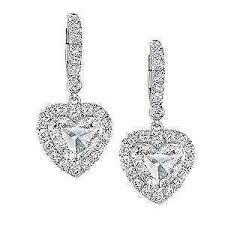 heart shaped diamond earrings heart shaped diamond ebay
