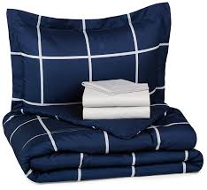 Navy Blue Bedding Set by Amazon Com Amazonbasics 5 Piece Bed In A Bag Twin Twin Extra