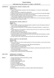 resume exles for receptionist office receptionist resume sles velvet