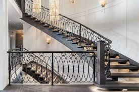 Oak Banisters And Handrails Ornate Iron Staircase With Ebony Stained Oak Stair Treads
