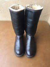womens black leather boots size 9 ugg australia black leather fur boots womens size 9 ebay