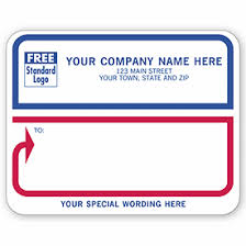 business labels padded white with blue border jumbo mailing