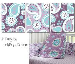 Purple And Aqua Crib Bedding Nursery Wall Purple Paisley Bedroom Baby Decor