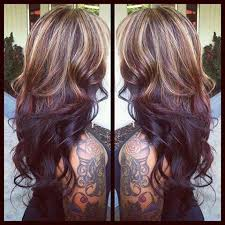 chocolate hair with platinum highlight pictures blonde highlights on top of layered chocolate brown hair