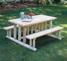 simple diy backyard rectangle pine park picnic table with attached