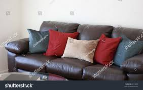 Reddish Brown Leather Sofa Comfortable Brown Leather Pillows Stock Photo 8721880