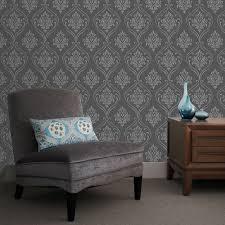 fine decor winchester damask wallpaper black silver fd40659