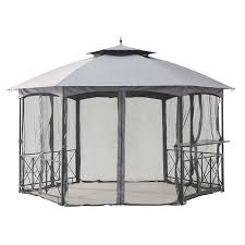 gazebo mosquito netting 13ft x 14ft hexagon gazebo canopy with bar shelf and mosquito