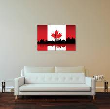 Vintage Flag Art Vintage Canada Flag Over Toronto Skyline