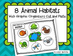 animals habitats 8 web graphic organizers cut and paste