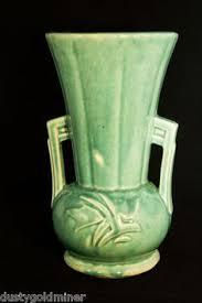 Mccoy Vase Value Vintage Mccoy 291 Glossy Aqua Blue Green Flowers Leaves