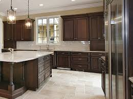 walnut wood cherry amesbury door dark kitchen cabinets backsplash