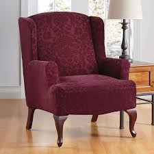 bedroom red burgundy velvet wingback chair cover with classic