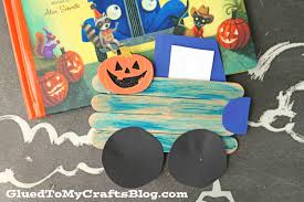 little blue truck u0027s halloween popsicle stick kid craft glued