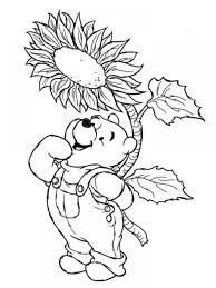 spring coloring pages pooh and sunflower coloringstar