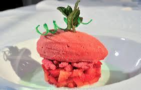 vervenne cuisine fraise en brunoise et en sorbet coulis de coco a la verveine