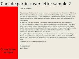 Sample Resume For A Chef by Chef De Partie Cover Letter
