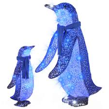 gemmy lighted penguin outdoor decoration with blue