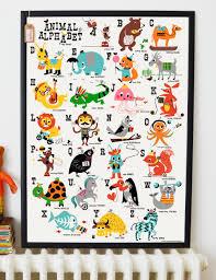 animal alphabet children s nursery print from rose grey print animal alphabet children s nursery print