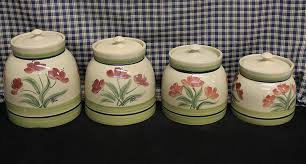 stoneware kitchen canisters usa made stoneware 4pc painted canister set