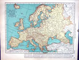 Old Europe Map by 26 Print Collier Map 1936 Rand Mcnally Europe British Isles
