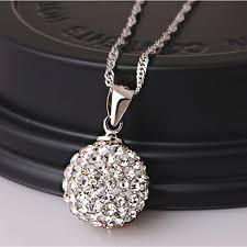 silver ball pendant necklace images Silver chain crystal rhinestone ball pendant necklace at banggood jpg
