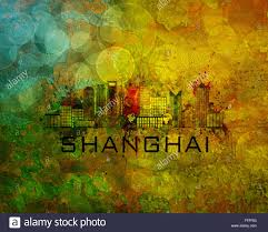 shanghai china city skyline with paint splatter abstract on grunge