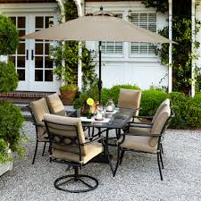 Garden Oasis Rockford Piece Tan Dining Set Sears - 7 piece outdoor dining set with round table