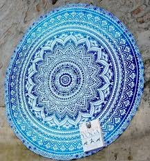 hippie indian peacock mandala round roundie towel throw tapestry