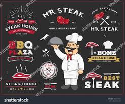 set steak grill restaurant logo label stock vector 309151532
