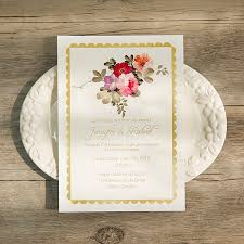floral foil bohemian floral foil pressed wedding invitations ewfi003 as low as