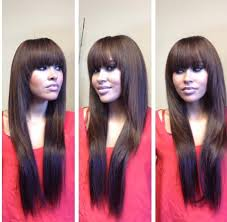 best way to sew in a weave for long hair full sew in weave with bangs and fringed layers minimal hair was