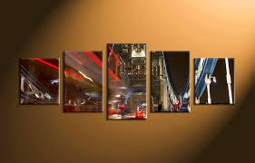 5 piece black city car photo canvas