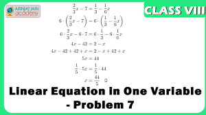 linear equation in one variable problem 7 equation maths
