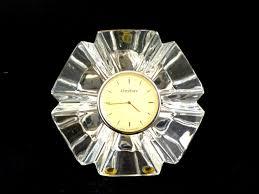 vintage orrefors crystal clock desk clock mantle clock orrefors etched made in