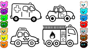 learn colors for kids with city vehicles u0026 cars coloring pages