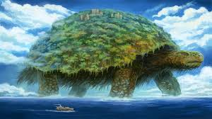 digital art nature landscape sea animals turtle trees ship