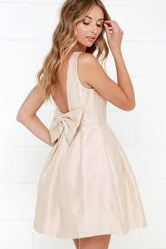 bow me a beige backless dress beige and clothes