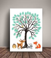 Deer Nursery Bedding Woodland Baby Shower Guest Book Alternative Thumbprint Tree For
