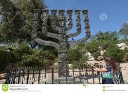 knesset menorah knesset s menorah sculpture in jerusalem israel stock photo