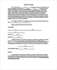 doc 585640 sample general release form u2013 general release form 7