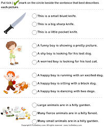 adjectives in sentences choose sentence with correct adjectives for pictures worksheet