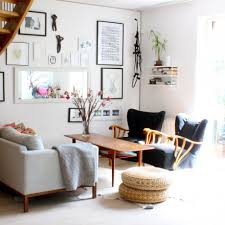 scandinavian living room decorating style natural brown finish